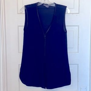 Vince Navy silk shift/tunic with leather trim S